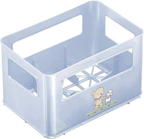 Rotho Babydesign Flaschenbox, Für 6 Flaschen, Design Beste Freunde, 21,5 x 14,5 x 13,6 cm, Babybleu Perl (Hellblau), 300360103AZ