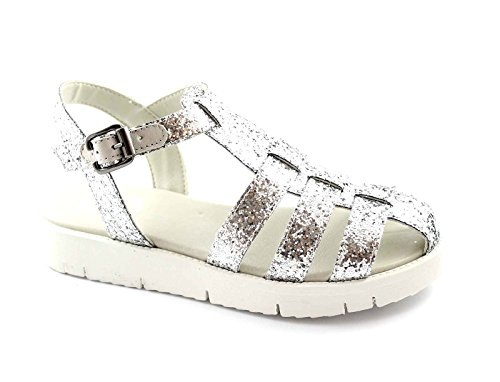 GRUNLAND MAGE SA1034 argento sandali punta chiusa donna fascie glitter Argento