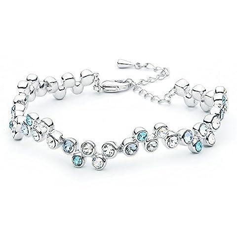 MYJS Fidelity Rhodium Plated Tennis Bubble Bracelet with Blue Swarovski Crystals , 17+5cm Extender