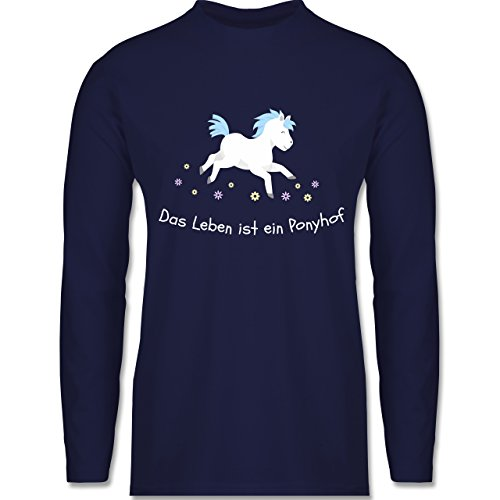 Shirtracer Pferde - Das Leben ist ein Ponyhof - Herren Langarmshirt Navy Blau