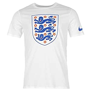 Nike England Crest T-Shirt Mens White Football Soccer Top Tee Shirt Medium