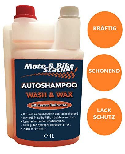 Moto & Bike Autoshampoo - 1000ml Pflegemittel mit Abperleffekt - Auto, Motorrad Reinigung und Lackschutz für Sommer und Winter - einzigartige Glanzformel - Made in Germany