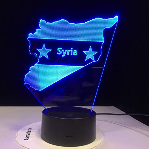 Syria Map 3D Led Night Lights 7 Colors Changing Usb Bedroom Decor Shape Table Lampbedside Sleep Light Fixture Gifts