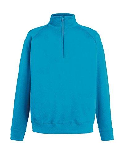 Fruit of the Loom Herren Sweatshirt Lightweight Zip Neck Sweat Azure Blue