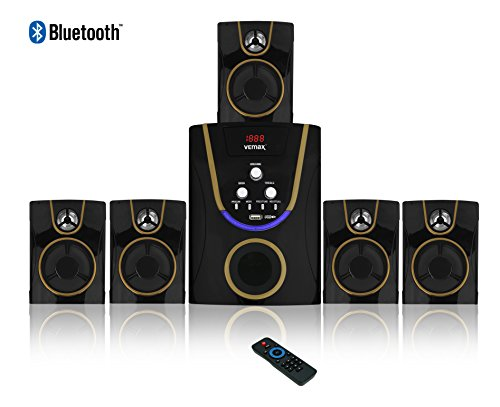 Vemax Posh 5.1 Bluetooth Multimedia Home Theater System With Fm Usb Aux (black & Golden)
