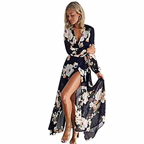 Femmes longue Robe , Manches longues Casual Impression Translucide Maxi Robe en Mesh (Asie XXL, Noir)