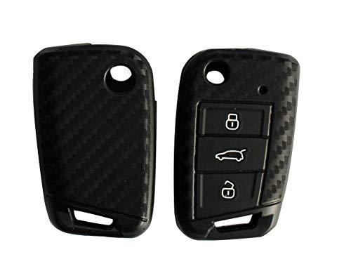 Happyit - Guscio per chiave auto in fibra di carbonio, modello in morbido silicone per Volkswagen Golf 7 GTI GTD GTE MK7 Polo Skoda Octavia A7 Seat Leon Ibiza Touran Lingdu, chiave smart a 3 tasti