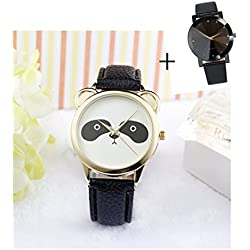 Mallom® ashion Neutral Diamond Lovely Panda Face Faux Leather Quartz Watch