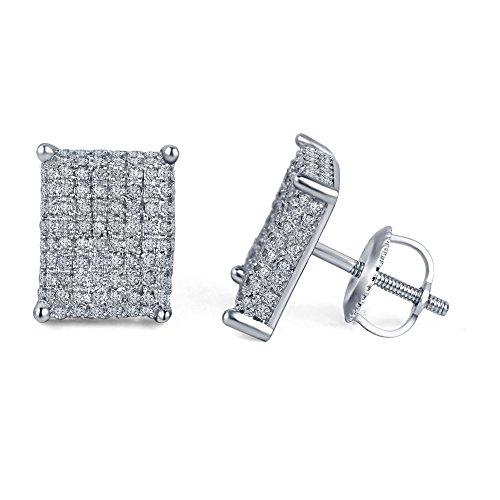 lilu Jewels nouvellement conçu rond découpé Blanc Véritable Daimond Argent 925Boucles d'oreilles clous en argent sterling 925 White Platinum Plated