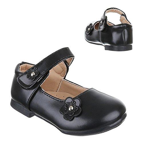 Kinder Schuhe, H1103, BALLERINAS MIT DEKO VERZIERTE Schwarz