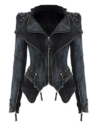 ZEARO Damen Punk Nieten Denim Jeans Blazer Jacke Biker Jacke Tailcoat Mantel 3 Farben