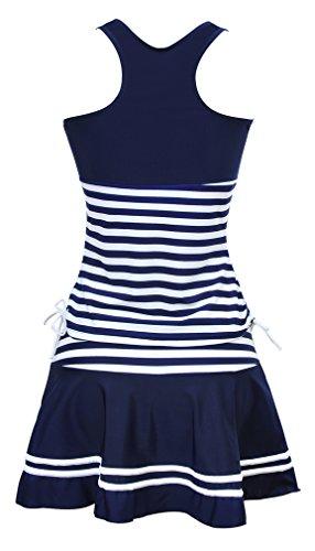 TDOLAH Maillot de Bain Femme Maternité Monokini Rayure Bleu 3 Pièce Robe de Plage Bikini Jupette Grande Taille Rayure Bleu-4