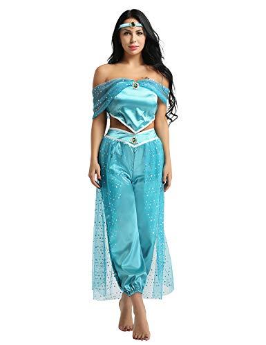 dPois 3Pcs Damen Kostüm Prinzessin Kostüm Frauen Kostüm Outfit Tops + Hosen + Stirnband Halloween Kostüm Karneval Party Cosplay Verkleidung Weihnachten Blau Medium