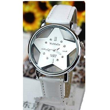 Frauen die hohle transparente Doppelglas-Sterne rote Lederband Uhr beobachten ( Farbe : Weiß , Geschlecht : Für Damen )