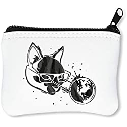 Powerful Nerd Cat Billetera con Cremallera Monedero Caratera