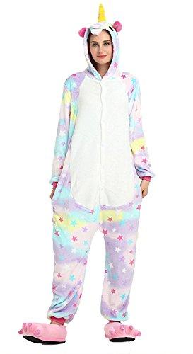 suit Onesie Tier Fasching Karneval Halloween kostüm Erwachsene Unisex Cosplay Schlafanzug- Größe L-für Höhe 164-174CM, Stern-einhorn ()