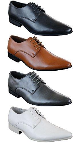 Galax Chaussures Homme Chic Décontracté Lacées Bout Pointu Simili Cuir et Doublure Cuir Pour Mariages Soirées Bureau Noir