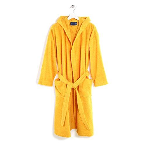 Accappatoio con cappuccio unisex - caleffi modello minorca - in spugna 400 gr/mq puro cotone idrofilo -taglia xl - colore giallo sole