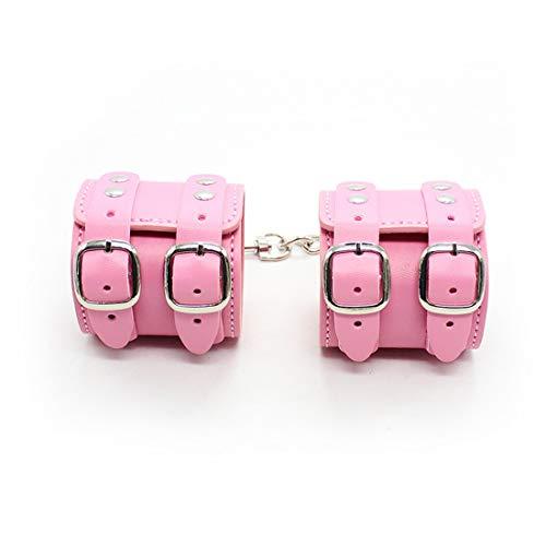 Kamiwwso Manette in Doppia Fila di Manette in Pelle per Adulti con Anelli in Ferro Sexy Toys (Color : Pink, Size : Handcuffs)
