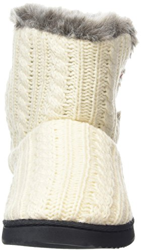 Dearfoams - Cable Knit Two-button Boot With Memory Foam, Pantofole Donna Bianco (Muslin 00120)