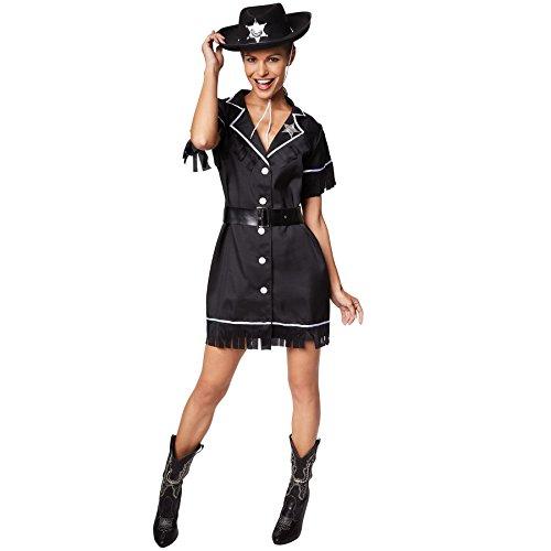 TecTake dressforfun Frauenkostüm Cowgirl | Kleid + Gürtel & Sheriffstern | Sheriff Cowboy Verkleidung (XXL | Nr. 300645)
