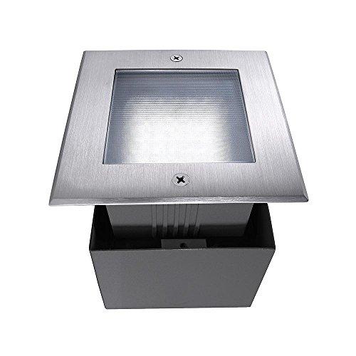 Spot extérieur encastrable de sol LED Square II carré asymétrique, AC 220–240 V/50–60 Hz, 2,2 W, acier inoxydable, 120 °, IP67, 6000 Classe d'efficacité énergétique : A +