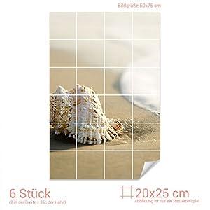 GRAZDesign Fliesenaufkleber Muschel/Strand für Kacheln Bad-Fliesen mit Fliesenbildern überkleben (Fliesenmaß: 20x25cm (BxH)//Bild: 50x75cm (BxH))