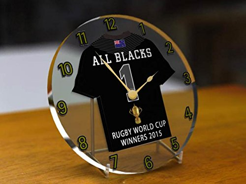 MyShirt123 Horloge de bureau commémorative All Blacks Coupe du Monde de Rugby à XV 2015
