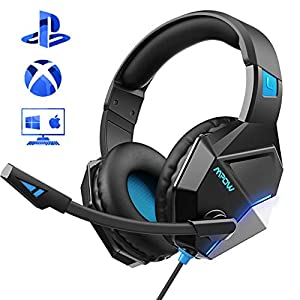 Mpow Gaming Headset für PS4, EG10 PC Gaming Kopfhörer mit 50MM-Treiber, Super Leicht LED Gaming Headset, Noise Cancelling-Mikrofon, Over-Ear Gaming Headset für PC, Handy,Xbox one, Nintendo Switch