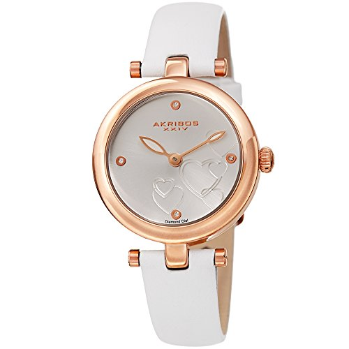 Akribos XXIV Women's Diamond Accented Heart Engraved Dial Leather Strap Watch in a Beautiful Gift Box Perfect for Mothers Day - AK1044 (Snow White)