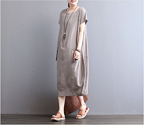 neue retro - sommer, kurzärmeliges kleid, lässig, locker im langen kleid l kaffee farbe