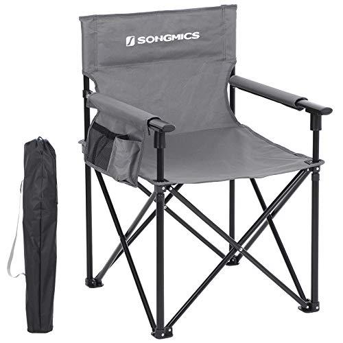 Stuhl Tasche (SONGMICS Regiestuhl, klappbar, Klappstuhl, Campingstuhl mit 3 Taschen, für Visagisten, Friseur, robust und langlebig, bis 150 kg belastbar, grau GCB11GY)
