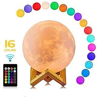 CougarEyes Mond Lampe 15 cm 16 Farben,3D Moon Lamp - LED Nachtlampe für wundervolle Lichtatmosphäre - Touch Lampe Mondlicht - Mond Nachtlicht und Licht für Schlafzimmer und Esszimmer