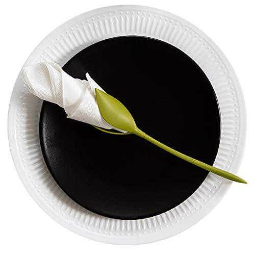 Set 4Stück, Grün Ergab Kunststoff Twist Flower Buds Serviettenhalter Plus weiß Servietten für Macht Original Tisch Arrangements