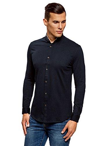 Oodji ultra uomo camicia in maglia con collo alla coreana, blu, 39,5 Сm/it 44-46/s