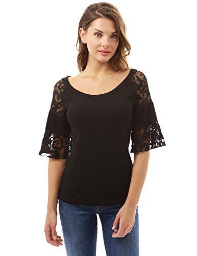 PattyBoutik Damen U-Ausschnitt Bluse mit 3/4 Glocken-Ärmeln und Spitze Einsatz Am Armen Black