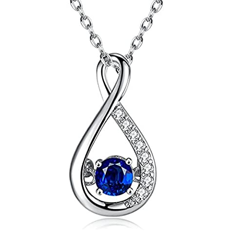 Caperci 925 Sterling Silver Lab-Created Blue Sapphire and Cubic Zirconia Infinity Pendant Necklace for Women, 40cm+5cm Extender