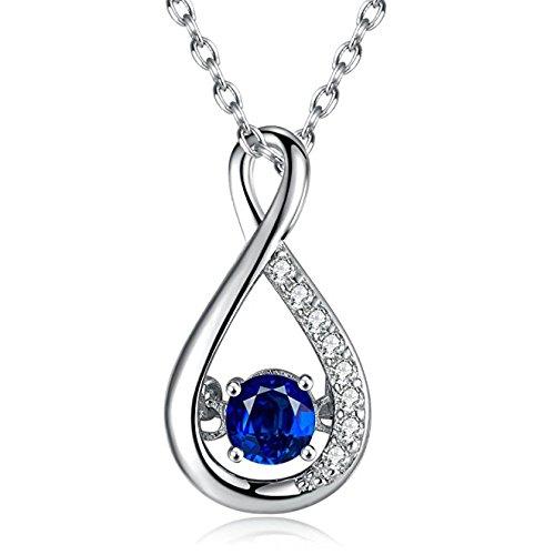 Caperci Sterling Silber erstellt Blue Sapphire Diamond Accent Infinity Anhänger Halskette für Frauen, 18 ''