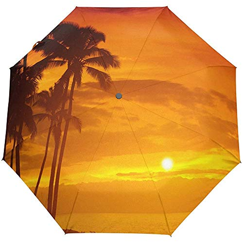 Sommer Strand Palmen Sonnenuntergang Auto Öffnen Schließen Regenschirme Anti UV Folding Compact Automatic Umbrella