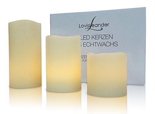 LovisLeander LED Kerzen klein aus Wachs inkl. Batterie - 3er Set Echtwachs-Kerzen mit flackernder Flamme -
