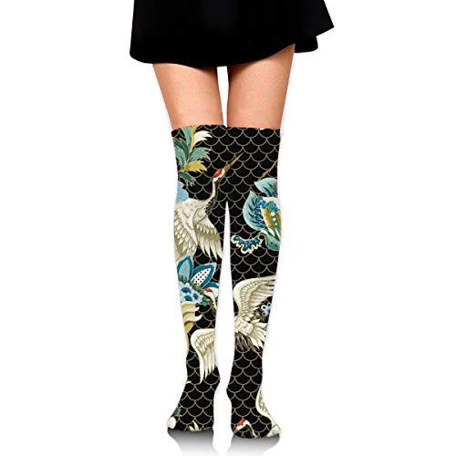 Bidetu Ethnische japanische Ornament Elemente und Kräne Frauen Plus Size Strümpfe Oberschenkel hoch, über dem Knie Schlauch Socken lange Sport Strumpfhose Beinlinge (Kostüm Oberschenkel Hohe Schlauch)