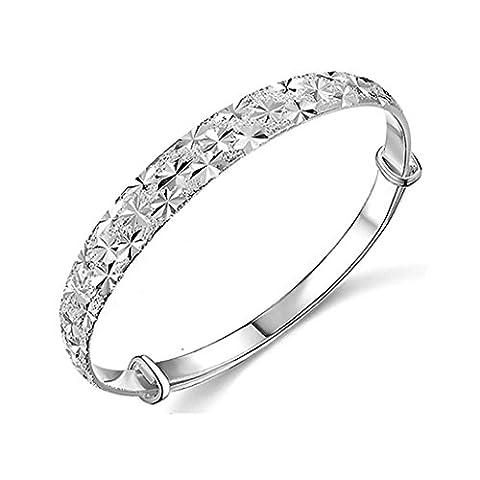 2017 Vovotrade®Women 925 Sterling Silver Charm Bangle Bracelet Jewelry (Silver)