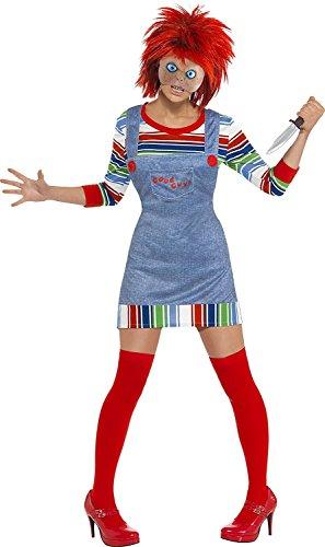 Damen Verkleidung Kostüm Chucky Puppe Halloween Film Verkleidung Mit Perücke EU 36-46 - Rot, EU 40-42