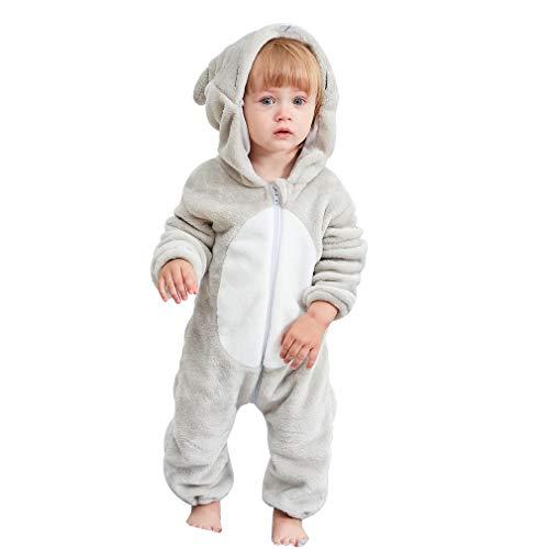 Flanell Kostüm - MICHLEY Baby Spielanzug Schlafanzug Flanell Frühling Strampler Pyjama kostüm Bekleidung Karikatur Tier Jumpsuit für mädchen und Junge(Grau 90)
