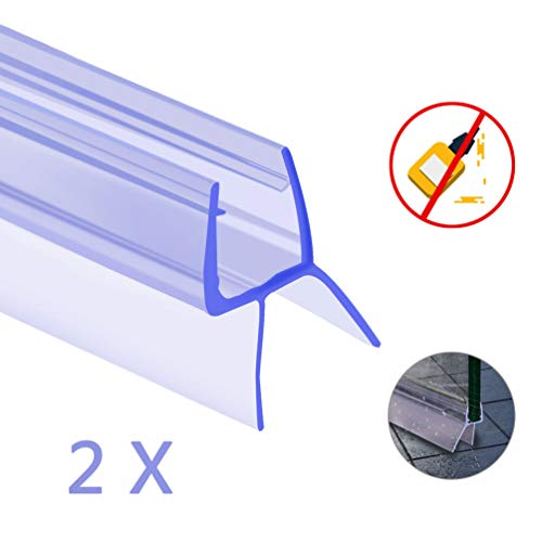 Oladwolf Duschdichtung, 2PCS 100cm Duschtür Dichtung Dusche Glastür für 6mm / 7mm / 8mm Glasdicke, Verdickte PVC Wasserabweiser Gummilippe Duschkabinen Dichtungen Universal -