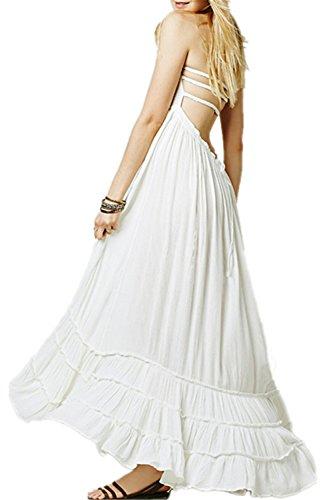 Monissy Femmes Robe Boheme Robe Cocktail Bretelle Robe de Soirée Longue Robe de Plage Robe Quotidien Femme Licol Backless Maxi Blanc