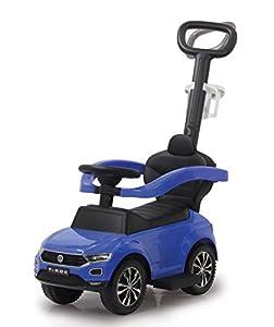 Jamara 460462-Correpasillo VW T-Roc 3en1 Antivuelco, Sonidos, Protección Lateral, Soporte con función de dirección, Portavasos, Apoyapiés Extensible, Color Azul (460462)