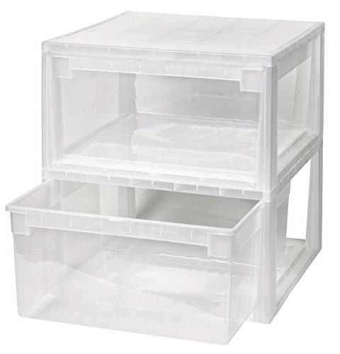 Kreher 2 Stück Schubladenboxen mit Nutzvolumen 23 Liter pro Box. Passend für z.B. Shirts, Hemden, Wäsche, Papier, etc. Maße pro Box: 39,6 x 39 x 21,3 cm