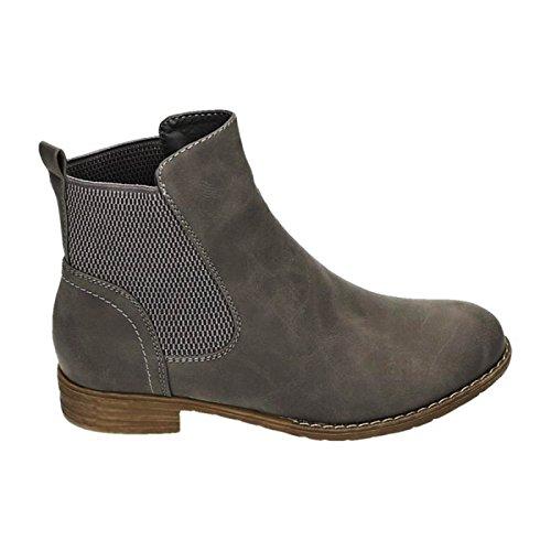 Damen Chelsea Boots Stiefeletten Flache Schlupfstiefel Schuhe ZY90 Grau 29
