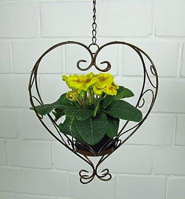 Blumenampel Herz zum Hängen, mit Kette, aus Eisen in Braun